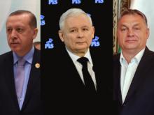 v.l.n.r. Recep Tayyip Erdoğan, Jarosław Kaczyński, Viktor Orbán