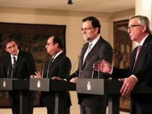 Pedro Passos Coelho, François Hollande, Mariano Rajoy  und Jean-Claude Juncker