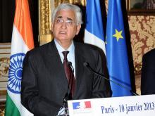 Indiens Außenminister Salman Khurshid wird Vizepräsidentin Catherine Ashton am 30. Jänner in Brüssel treffen