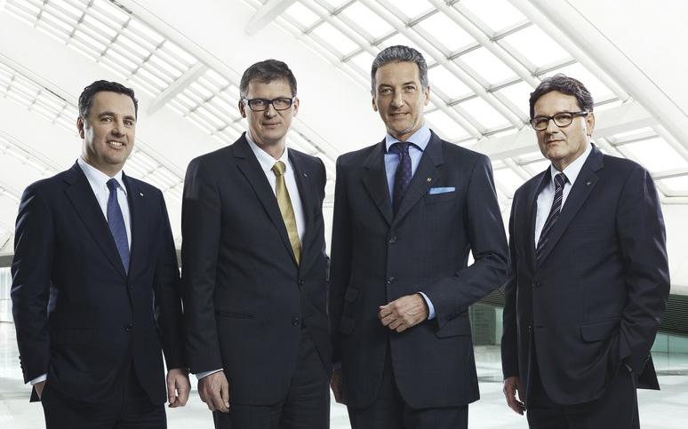 NOVOMATIC-Vorstand: v.l.n.r.: Mag. Thomas Graf, CTO NOVOMATIC AG, Mag. Peter Stein, CFO NOVOMATIC AG, Stv. Aufsichtsratsvorsitzender NOVOMATIC ACE, Stv. Aufsichtsratsvorsitzender NOVOMATIC AGI, Mag. Harald Neumann, CEO NOVOMATIC AG, Aufsichtsrat NOVOMATIC AGI und DI Ryszard Presch, COO NOVOMATIC AG, Aufsichtsratsvorsitzender NOVOMATIC AGI; Bild: © NOVOMATIC AG