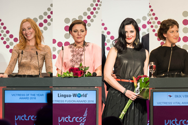 Schauspielerin und Autorin Andrea Sawatzki, Ann-Kathrin Carstensen,  Dr. Anne-Christin Bansleben und Maxie Matthiessen. © Victress Initiative e.V.